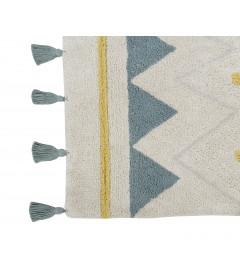 Tapis Lavable Coton Azteca Natural Bleu 120/160 cm
